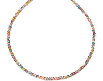 Mystic Quartz  Necklace Beaded 14k Gold Filled Solid Strand Faceted 18 19 Inch  AAA Purple Blue Lavender Iridescent colors 3mm size