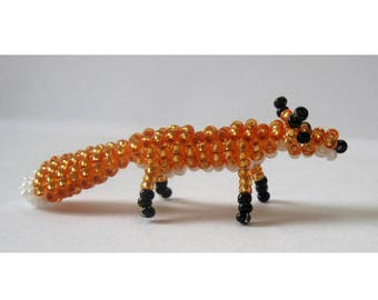 Miniature Fox with seed beads and nylon thread