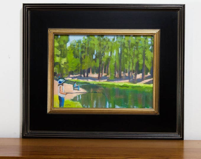 Landscape Painting Fishing the Deschutes River July 4th at Bull Bend Campground Original Framed Sherri McDowell Art
