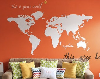 "World Map Wall Decal - 7 ft wide decal - ""this is your world - explore"" - nursery decor - apartment therapy nursery Kyler's playroom"