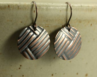 Medium Copper Disc Earrings with Embossed Lines, Primitive Earrings, Embossed Earrings, Aged Copper, Tribal Earrings