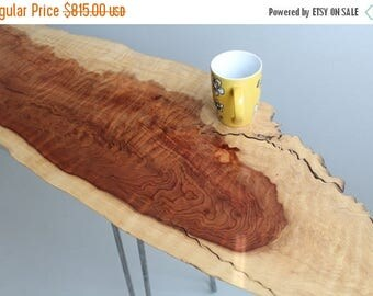 Limited Time Sale 10% OFF Long Curly Live Edge Redwood Sofa Hallway Table / Desk with Hairpin Legs