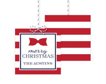 Christmas Gift Tags - Holiday Party Favor Tags - Christmas Party Tags - Printed or Printable - Free Shipping - Red Stripes