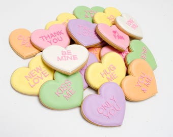 Decorated Cookies - Conversation Hearts - 1 Dozen