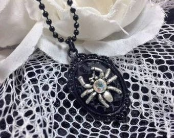 Halloween Spooky Lil Spider Black widow costume necklace  pendant