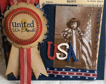 USA ~~~~ Extraordinaire Patriotic Card or Decor~~~ Independence Day Extravaganza~~~