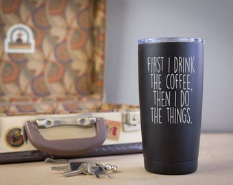 travel mug funny coffee humor gifts for dad fathers day i love caffeine novelty joke coworker tea 20oz black stainless steel thermos car cup