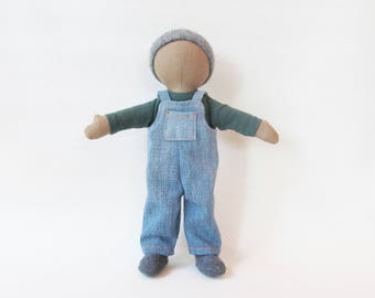 """Little 11"""" hemp linen doll, caramel brown cloth doll, doll overalls, gender neutral toy, multi cultural doll, Eco friendly doll, unique gift"""