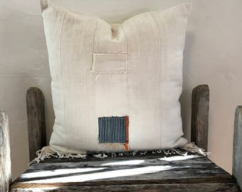Natural Mud cloth pillow, African Patched Mud Cloth Pillow case, Hand Made, fringe off-white throw pillow indigo patches, 20x20, Indigo blue