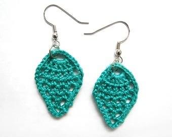 Lace Teardrop Earrings - Aquamarine Teal Jade Blue Cotton - Crochet, Pineapple, Retro, Modern, Bright, Boho, Kitsch