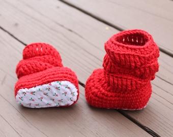 Baby Girl Christmas Baby Boots, Baby Girl Booties, Baby Shower, Newborn Christmas Baby, Holiday Booties
