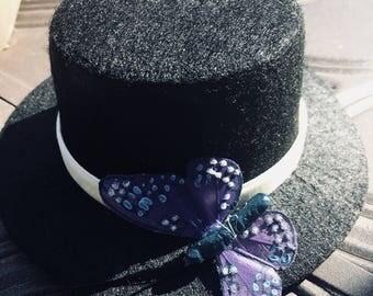 Blue Butterfly Mini Top Hat