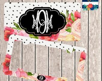 License Plate Frame Set ~ Floral License Plate ~ Monogram License Tag ~ Monogram Car Tag ~ Monogram Car Frame ~ Monogram Frame Tag ~ Vanity