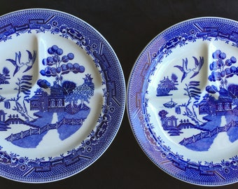"HTF Carr China 10"" ""Grafton Grill"" Blue Willow Diner Restaurant Grille Plates (Set of Two) in Excellent Unused Condition"