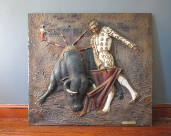 """Large Bullfighting Wall Art // 40"""" Vintage Molded Plastic Cast Dimensional Art Matador and Bull """"Afternoon in Seville"""" Wallace Richardson"""
