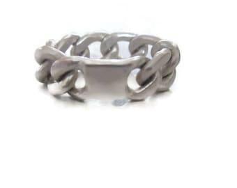 ID Ring, Chunky Silver Ring, Signet Curb Chain Ring, Oxidized Silver, Artisan Handmade  by Sheri Beryl