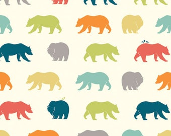 Bear Fabric - Bear Camp Poplin -  Bear Hike Multi -  Quilting fabric - Animal Fabric - Birch Organic Cotton Fabric - Just for Fun Poplin