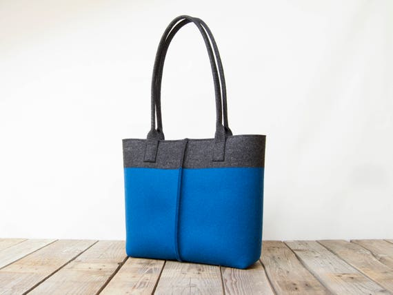 Wool Felt TOTE BAG charcoal and blue / bicolor tote bag / womens bag / felt shoulder bag / carry all bag / blue bag / made in Italy