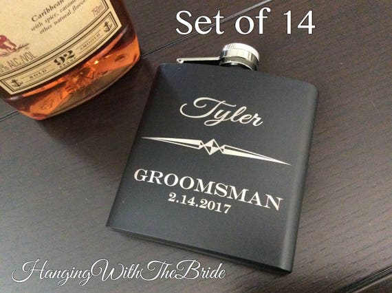 Set of 14 Personalized Flask Groomsmen Gift Box  Groomsmen Flask Set - Gifts for Groomsmen - Monogram Flask - Custom Flask Set for Groomsmen