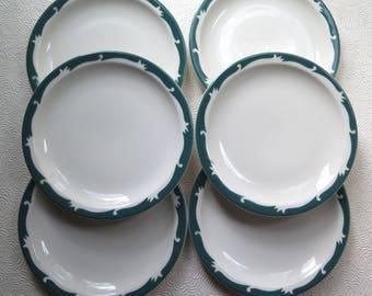 Restaurant Ware Plates Set of Six Syracuse China Luncheon Diner 6.5 Inches Diameter Green White Retro Kitchen Salad Dessert Plate