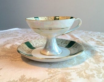 Wedding Sale Vintage Green and White Pearl Luster Pedestal Teacup and Saucer / Vintage Lusterware Made in Japan