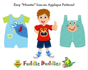 Infant Baby Sewing Patterns, PDF DOWNLOAD Boys Girls Sewing Pattern. Cute on Toddler Shirts Bibs Rompers Monster Iron-on Applique Patterns.