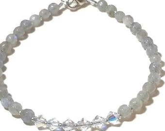 Minimalist Beaded Labradorite Gemstone Beaded Bracelet with Swarovski Austrian Crystals and Solid Sterling Silver Seed Beads Gift for her