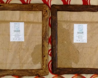 """Rustic/driftwood style frames in locally sourced,recycled hardwood.Medium dark or very dark beeswax finish.To fit 10""""x12"""""""