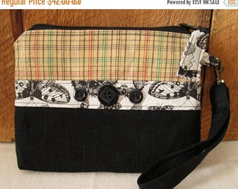 CIJSALE Plaid Butterflies Black Linen Cotton Fabric Button Trim Two Inside Pockets  Back Pocket Zippered Pouch Wallet Wristlet