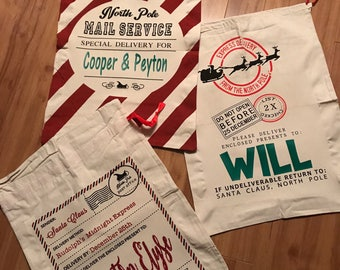 Santa Sacks,Personalized Santa Sack,Blank Santa Sack,Canvas Santa Sack,Christmas Gift Bag,Reindeer Sack,North Pole Bag,Christmas Bag,Canvas