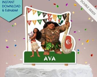 Moana Cake Topper, Moana Centerpiece, Moana Party Decor, Moana Party Decoration, Vaiana Cake Topper, Moana Party Sign, Welcome Sign, Maui