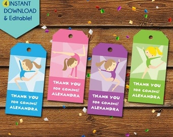 Gymnastics Thank You Tags, Girl Gymnastics Party Favors, Gymnastics Favor Tags, Gymnastics Birthday Tag, Gymnastics Little Pony Party Tags