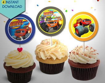 Blaze and the Monster Machines Cake Topper, Blaze and the Monster Machines Cupcake Toppers, Blaze Centerpieces, Blaze Cake Toppers