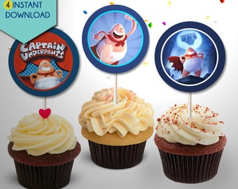 Captain Underpants Cake Topper, Captain Underpants Cupcake Toppers, Captain Underpants Centerpieces, Captain Underpants Party Decor
