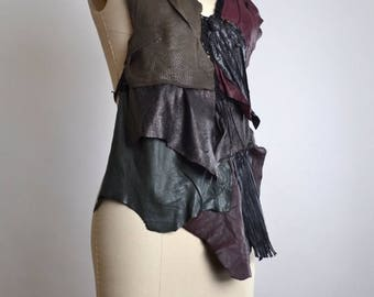 ON SALE RESERVED - Goth Leather Top - Leather Festival Top - Festival Clothing - Halter Tops - Burning Man Clothing - Black Leather Halter T