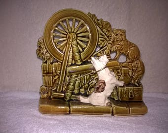 McCoy Spinning Wheel With Dog & Cat  Signed