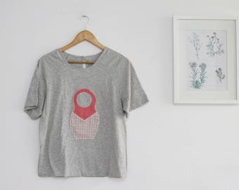 SALE / Gray with a matryoshka doll T-shirt with short sleeves, Womens Short Sleeve cotton Top