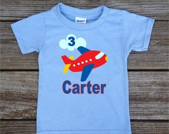 SALE Personalized Little Boy's Birthday Shirt in Airplanes Planes Transportation T-shirt Bodysuit in Blue Grey White Pink