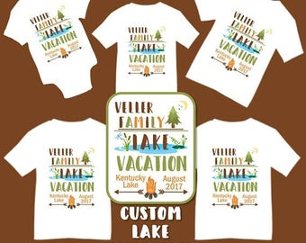 SALE Custom Lake Pond Outdoors Woods Family Vacation T-shirts Shirt Baby Bodysuit Mom Dad Baby Kids Boy Girl Outdoor Lake Fishing Trip