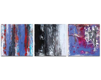 Abstract Wall Art 'Urban Triptych 4' by Celeste Reiter - Urban Decor Contemporary Color Layers Artwork on Metal