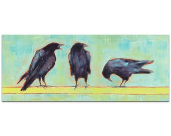 Contemporary Wall Art 'Crow Bar 1 v2' by Janice Sugg - Urban Birds Decor Modern WIldlife Artwork on Metal or Plexiglass
