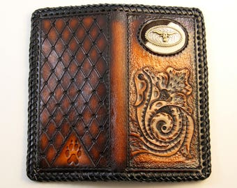 Handmade Roper Wallet with Cross and Longhorn Concho on Cow Hair Inlay