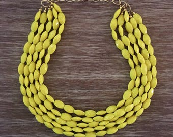 Statement Necklace Bridesmaid Jewelry SUNNY YELLOW Necklace  Wedding Jewelry Statement Jewlery mint Necklace