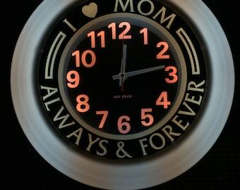 "I Love Mom Forever WALL CLOCK 14""D"