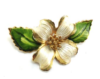 Gilt Enamel Brooch Classic Dogwood Bloom Leaves Dimensional Beauty Lustrous Color Tones Vintage Jewelry Collectible Pin