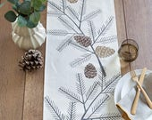 Pine Cone Rustic Fall / Thanksgiving / Holiday Modern Table Runner - Multiple Sizes