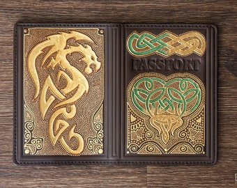 Premium leather passport cover with Gold Celtic Dragon and Celtic Knot. Gift idea for traveler, beautiful passport case for men