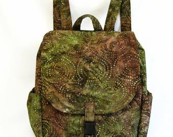 Large backpack- Olive green and rose brown batik cotton