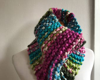 Chunky knit scarf in Laffy Taffy! chunky knit cowl, circle scarf, knit eternity scarf, winter accessories.