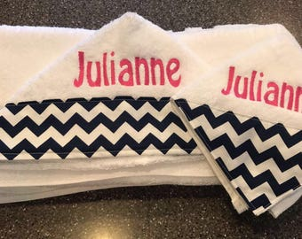 Personalized Hooded Towel & Wash Cloth/baby towel with hood/ Baby wash cloth